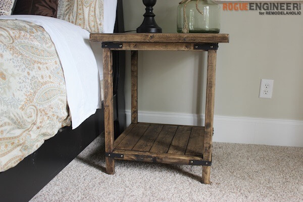 simple square side table { free diy plans } rogue engineer Diy Rustic Nightstand