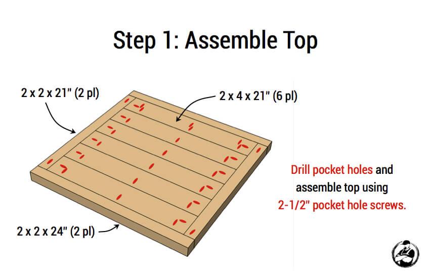 DIY Simple Square Bedside Table Plans - Step 1