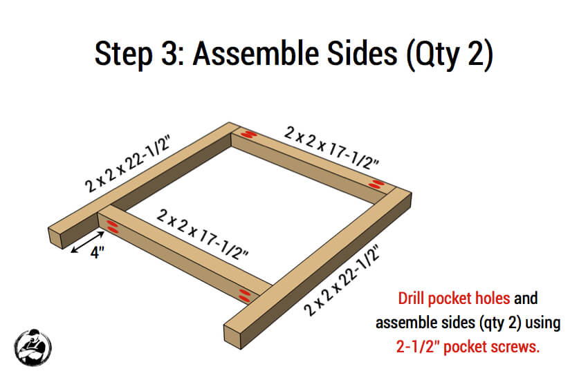 DIY Simple Square Bedside Table Plans - Step 3