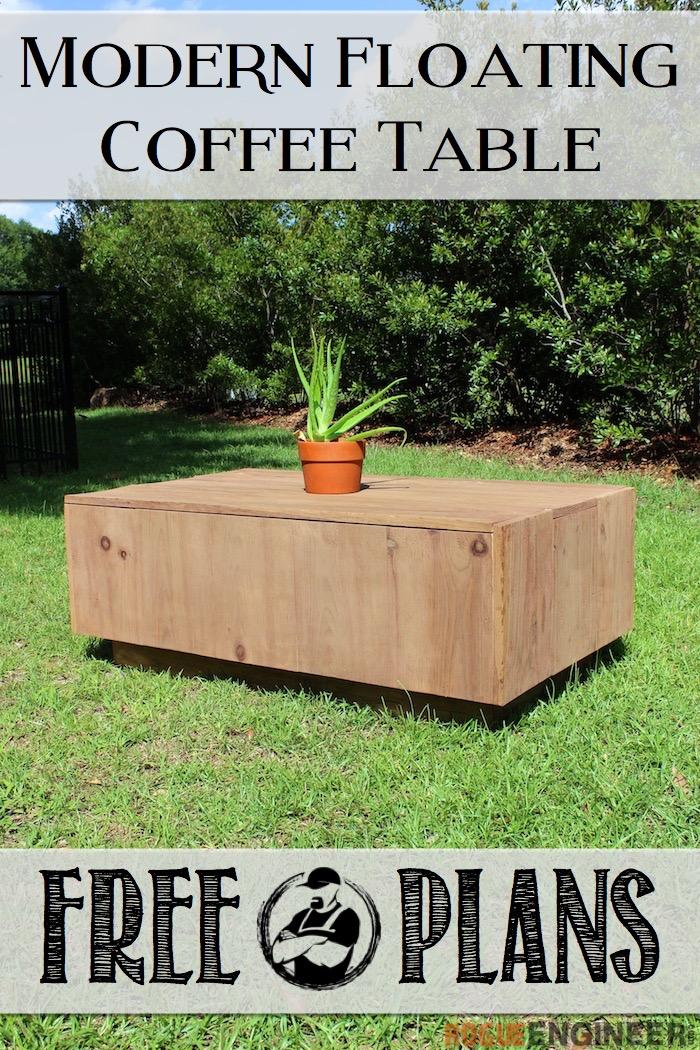 DIY Modern Floating Coffee Table - Free Plans - Rogue Engineer 2