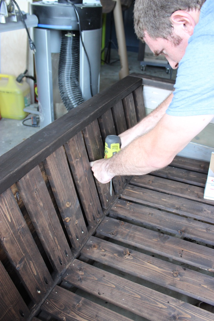 DIY Planked Wood Loveseat - Step 13