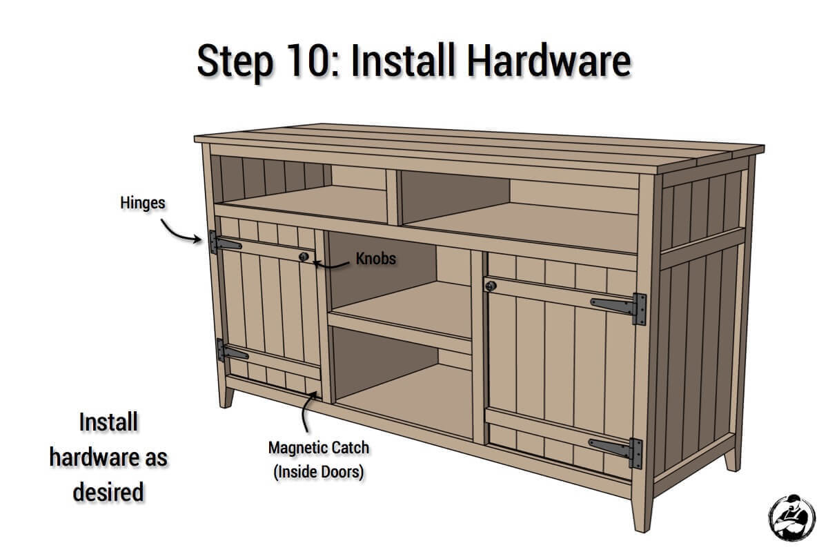 DIY Rustic Media Center Plans - Step 10