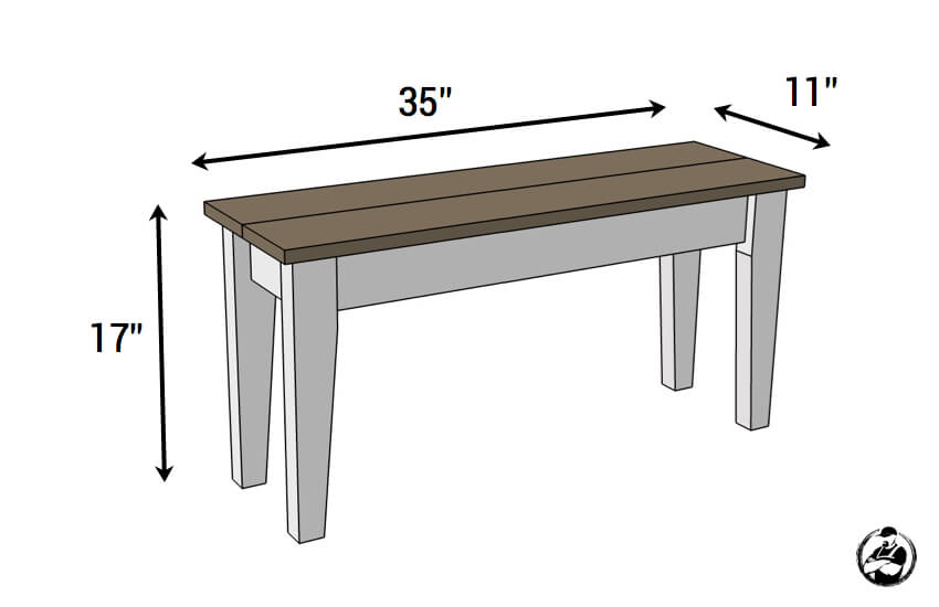 DIY Small Entry Bench Plans - Dimensions