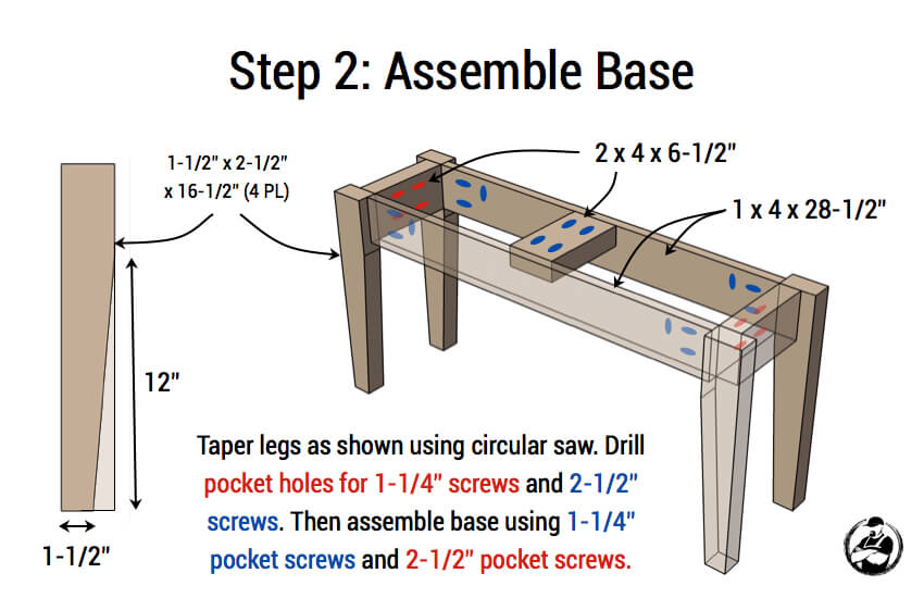 DIY Small Entry Bench Plans - Step 2