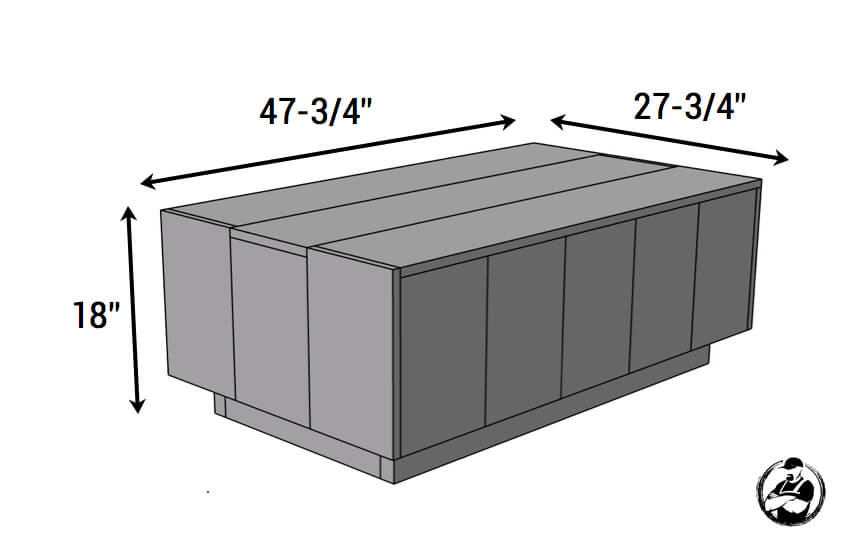 Modern Floating Coffee Table Plans - Dimensions