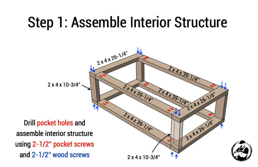 Modern Floating Coffee Table Plans - Step 1