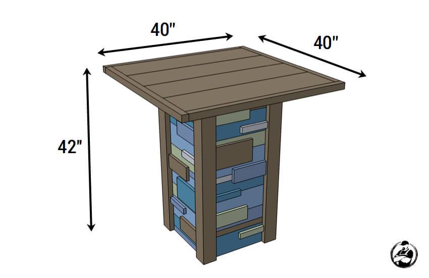 Modern Reclaimed Pub Table - Dimensions