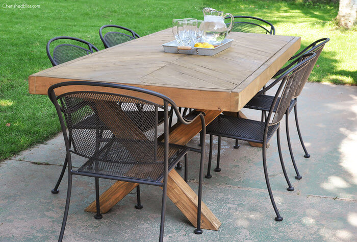 DIY X-Base Herringbone Table - Free Plans - Rogue Engineer