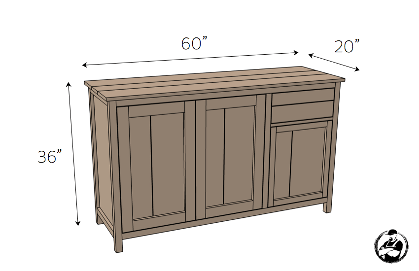 DIY Farmhouse Buffet Plans - Dimensions