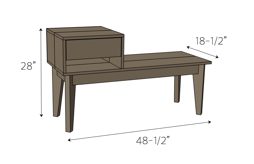 DIY Telephone Table Plans - Dimensions