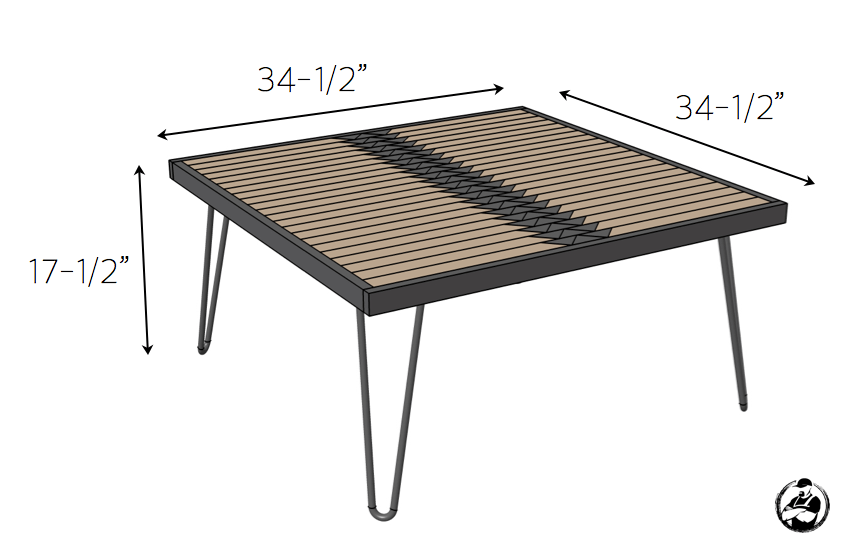 DIY Tribal Coffee Table Plans - Dimensions