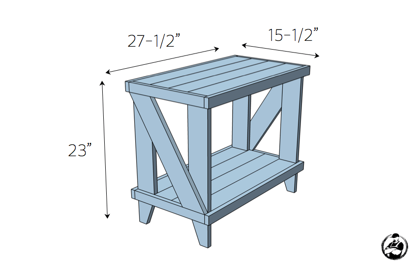 Narrow Cottage Side Table Plans - Dimensions