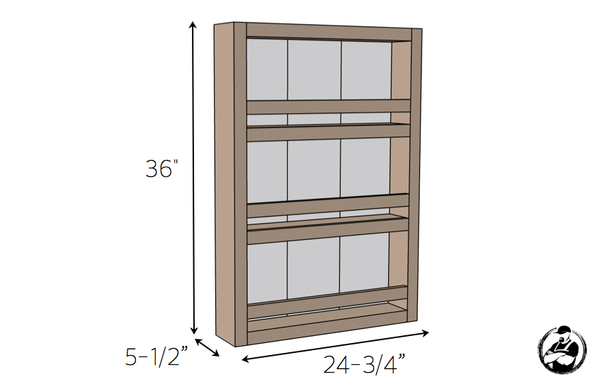 Apothecary DIY Wall Shelf Plans - Dimensions