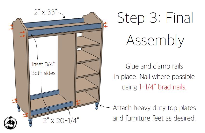 DIY Dress Up Center Plans - Step 3