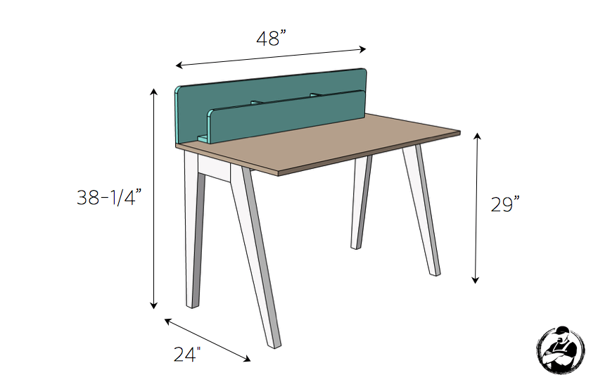 DIY Lindsay Desk Plans - Dimensions