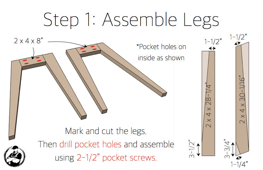 DIY Lindsay Desk Plans - Step 1