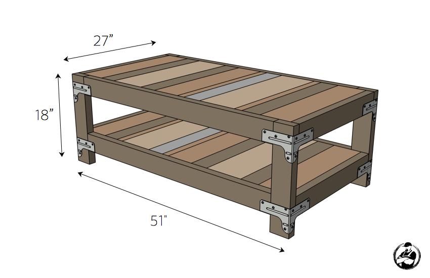DIY Industrial Coffee Table Plans - Dimensions