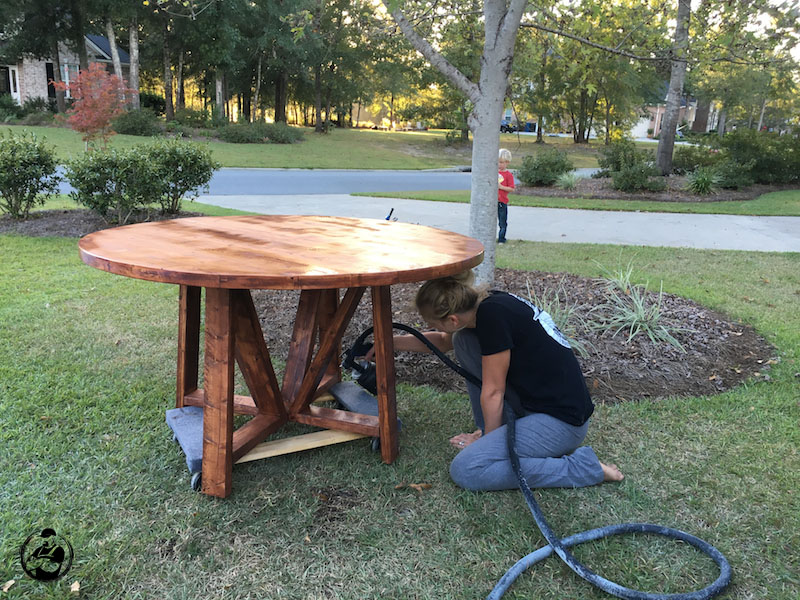 DIY Round Trestle Dining Table - Step 11