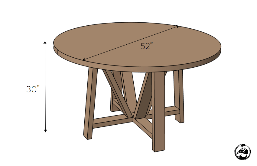 DIY Trestle Round Dining Table Plans - Dimensions