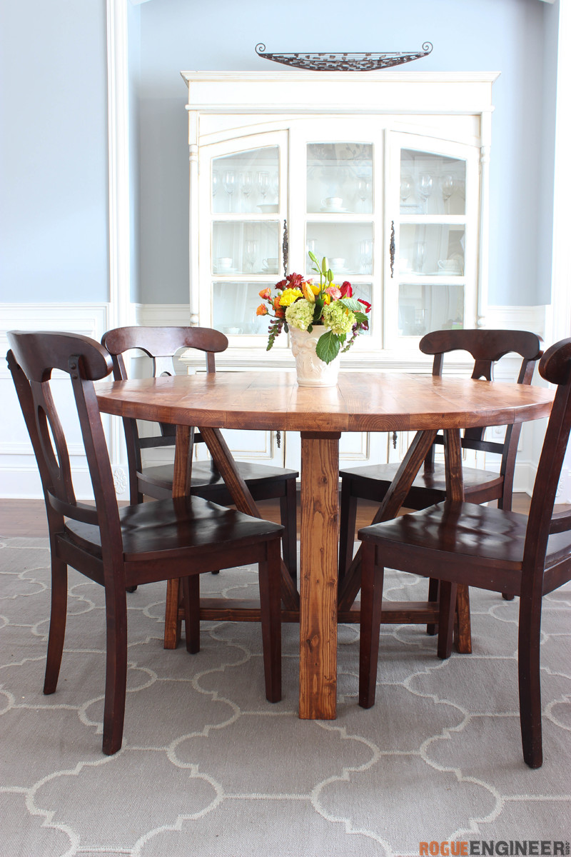 Round Trestle Dining Table - Free DIY Plans - Rogue Engineer-2