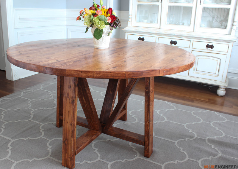 Round trestle dining table free diy plans rogue engineer for Diy dining table