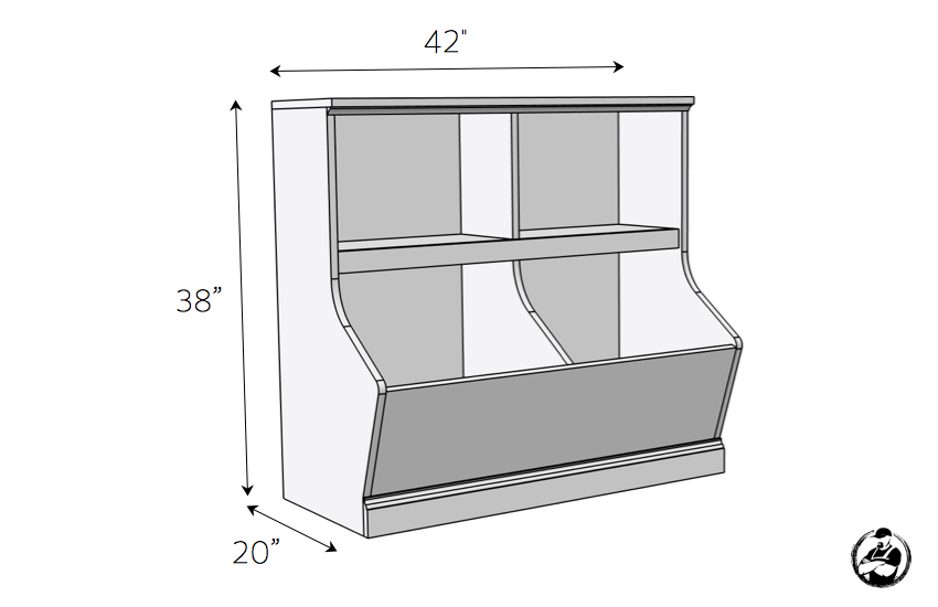 DIY Bookcase with Toy Storage Plans - Dimensions