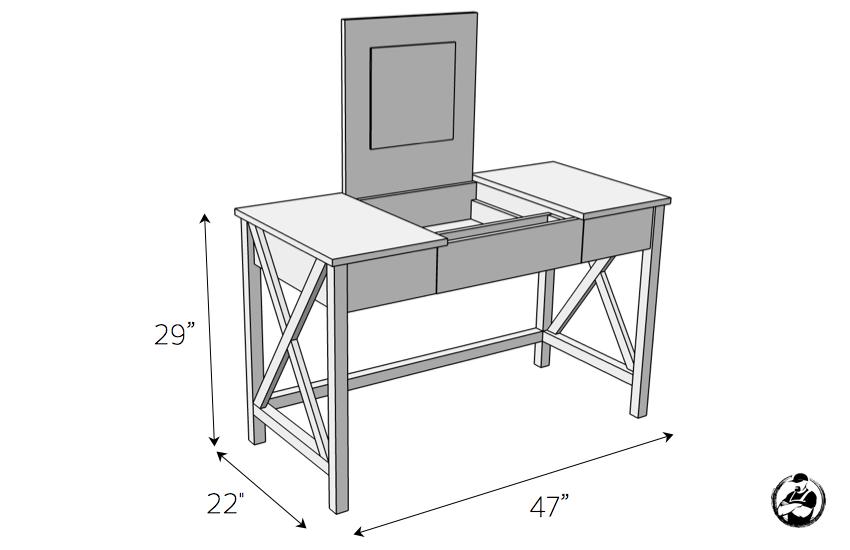 DIY Folding Vanity Plans - Dimensions