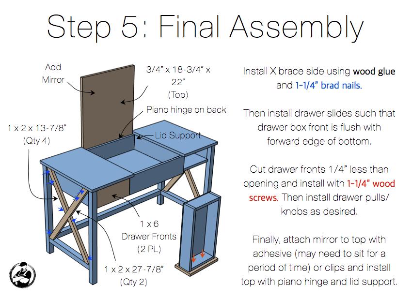 DIY Folding Vanity Plans - Step 5
