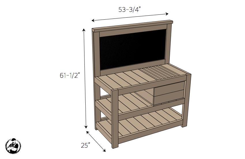 DIY Potting Bench Plans - Dimensions