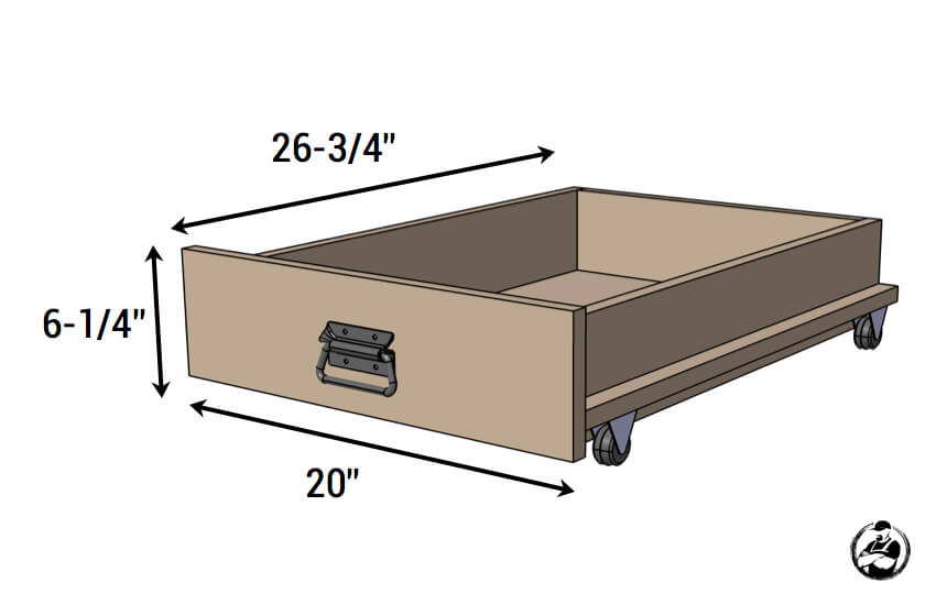 DIY Under Bed Storage Box on Wheels - Dimensions