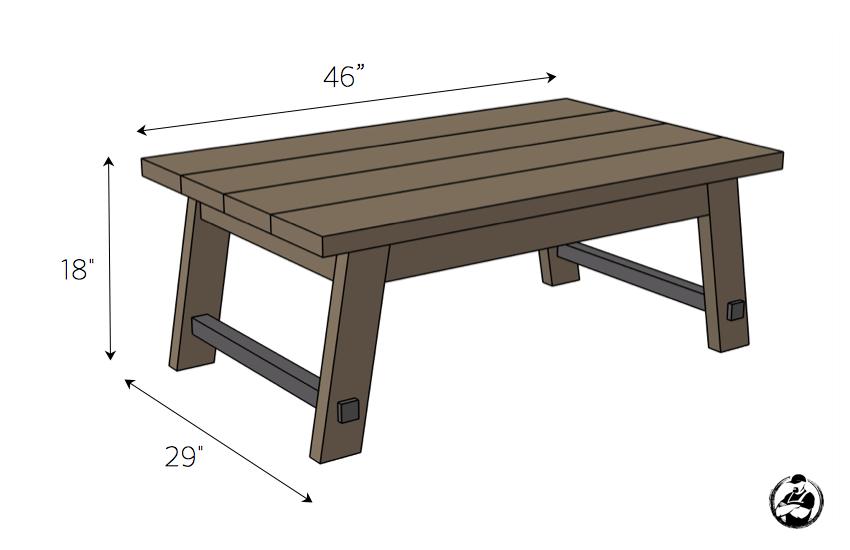 DIY Angled Leg Coffee Table Plans - Dimensions