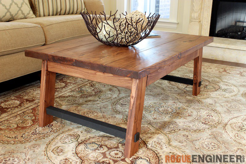 Angled leg coffee table free diy plans rogue engineer for Wood coffee table kits