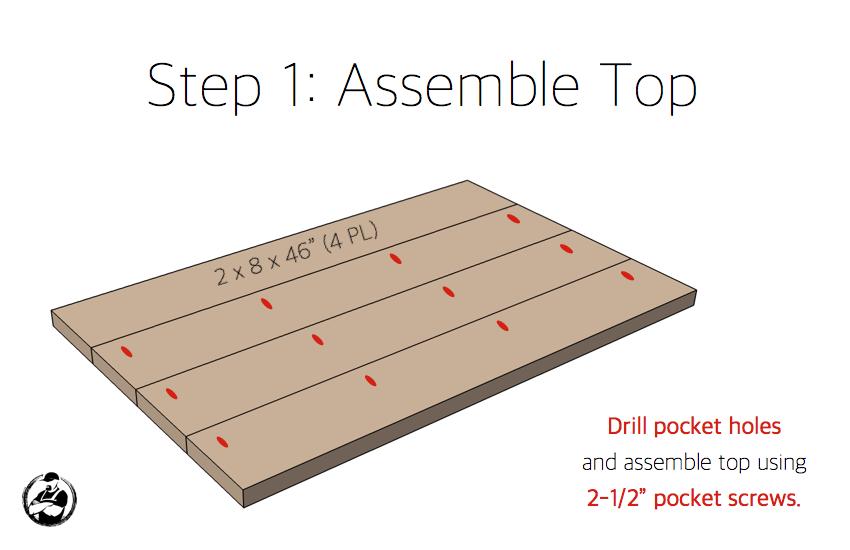 DIY Angled Leg Coffee Table Plans - Step 1