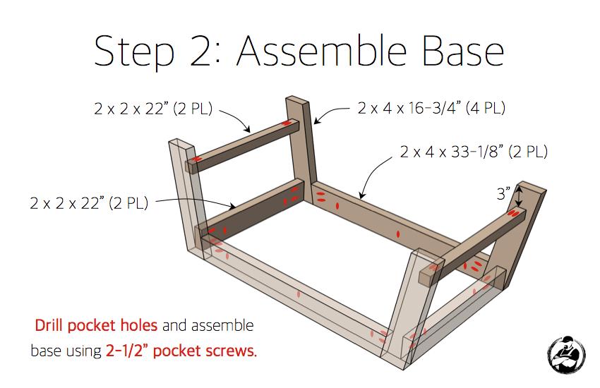 DIY Angled Leg Coffee Table Plans - Step 2