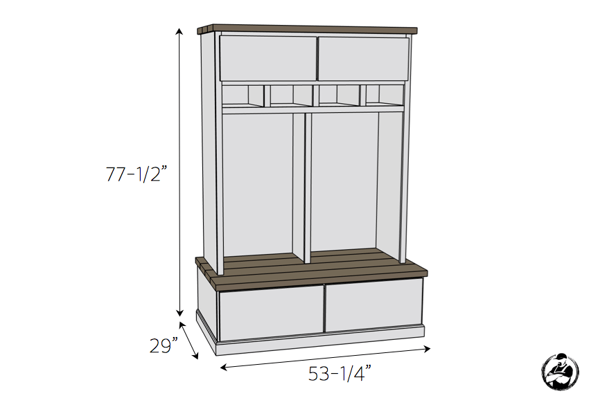 DIY Mud Room Locker Plans - Dimensions