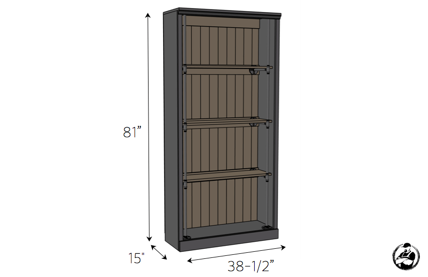 DIY Industrial Bookcase Plans - Dimensions