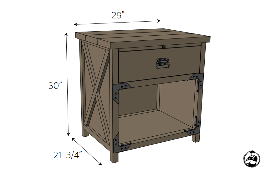 Simpson DIY Nightstand Plans - Dimensions