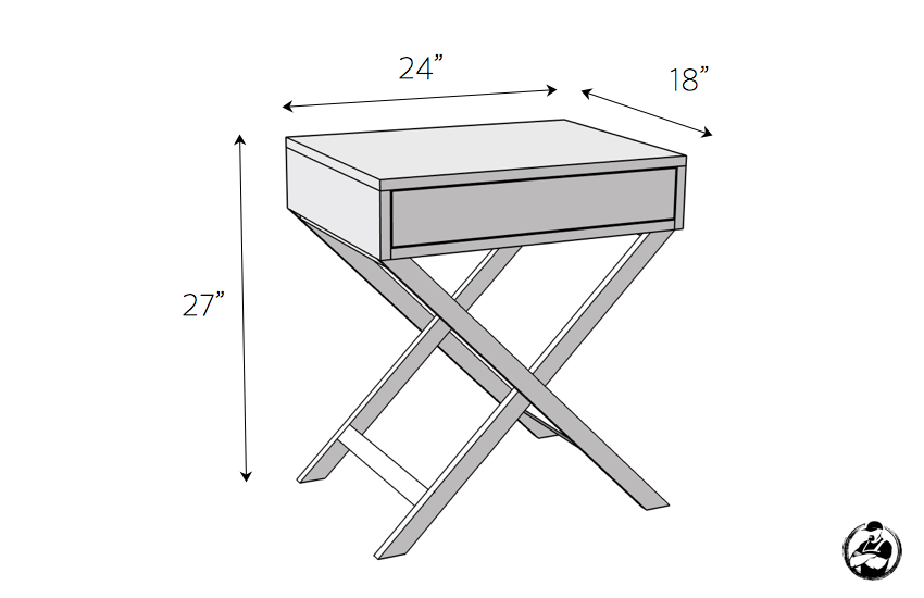 X Base Accent Table Plans - Dimensions