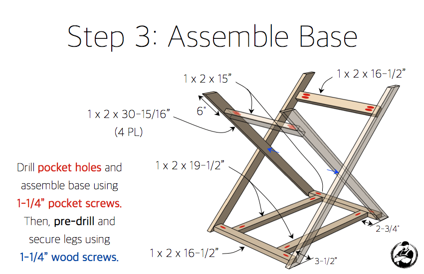 X Base Accent Table Plans - Step 3