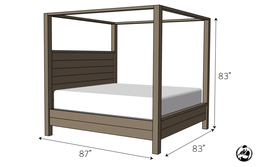 DIY Canopy Bed Plans - Dimensions
