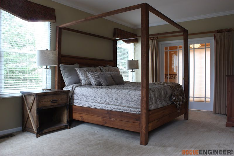 diy king size canopy bed plans rogue engineer 1 - Diy King Size Bed Frame