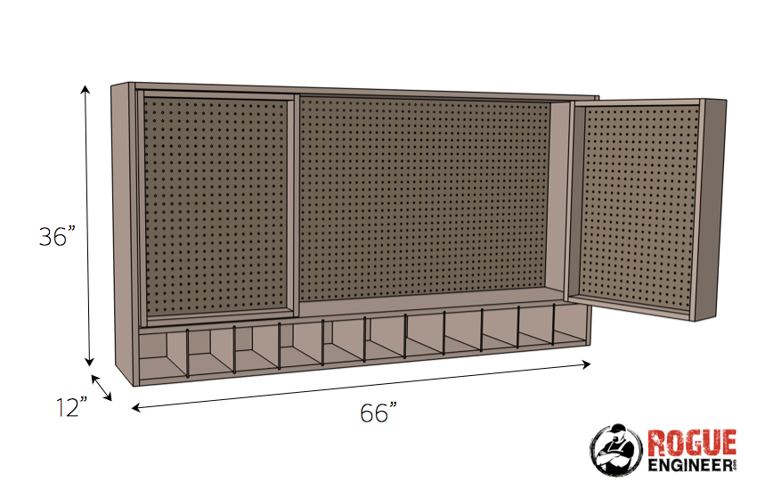 DIY Pegboard Wall Tool Storage Plans - Dimensions