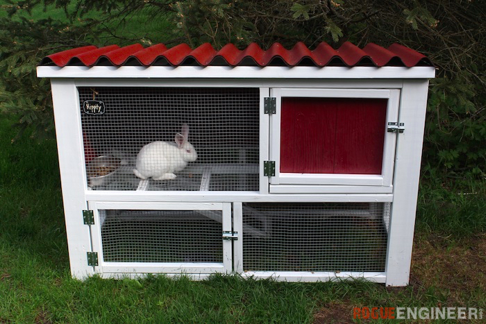 Diy rabbit hutch plans free easy rogue engineer - How to make a rabbit cage ...