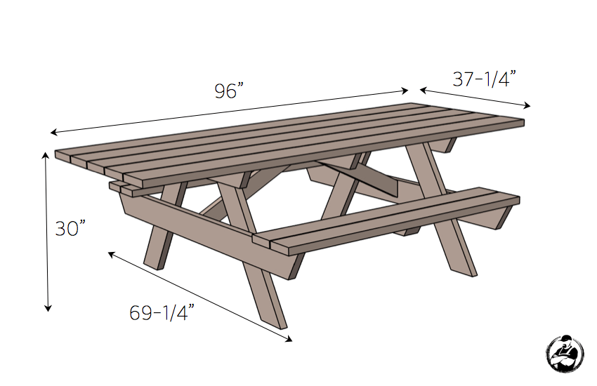 DIY Handicap Accessible Picnic Table Plans - Dimensions