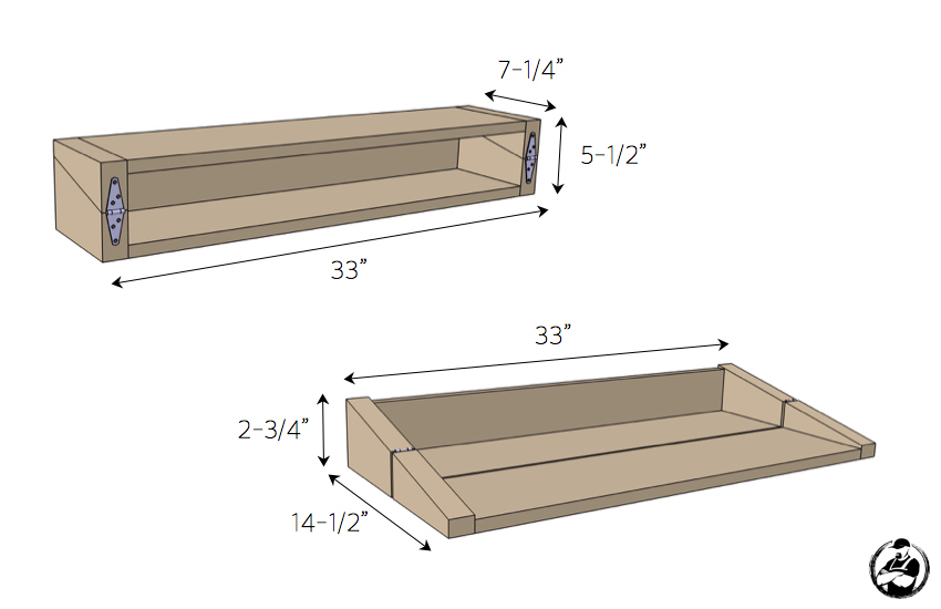 DIY Floating Shelf:Bar Plans - Dimensions