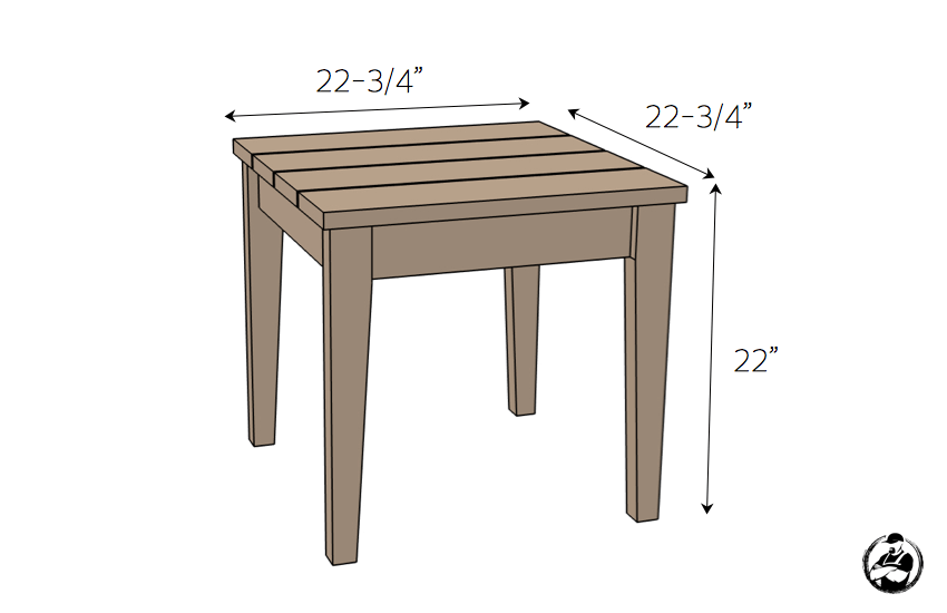 DIY Outdoor Side Table Plans - Dimensions