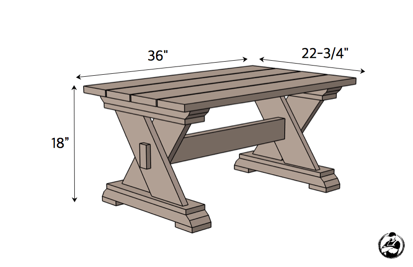 Small DIY Outdoor Coffee Table Plans - Dimensions