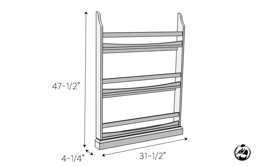 DIY Childrens Wall Bookshelf Plans - Dimensions