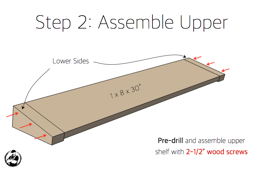 DIY Floating Shelf:Bar Plans - Step 2