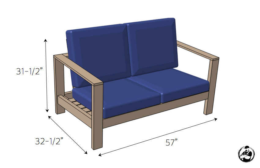 DIY Outdoor Loveseat Plans - Dimensions